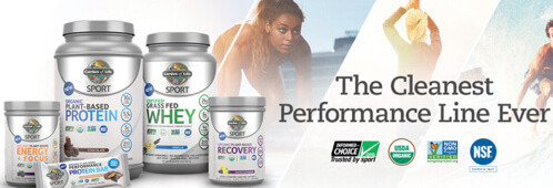 Sport Products by Garden of Life include Protein, Bars and Energy powders