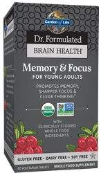 Garden of Life Dr Formulated Brain Health Memory and Focus for Young Adults