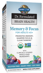 Garden of Life Dr Formulated Brain Health Memory and Focus for Adults 40 Plus  60 Tablets