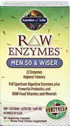 Garden of Life RAW Enzymes Men 50 and Wiser  90 Capsules