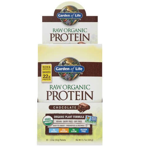 Garden of Life Raw Organic Protein Chocolate Cacao Box of 10 Single Serv. Packs