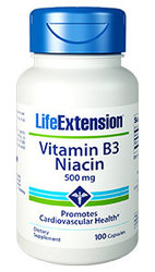 Life Extension Vitamin B3 Niacin  500 mg 100 capsules